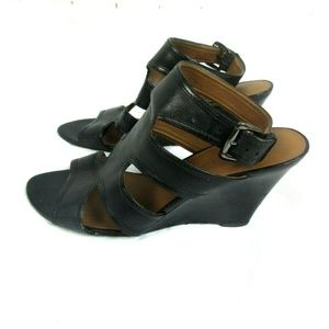 Franco Sarto Size 9.5 Black Leather Open Toe Wedge